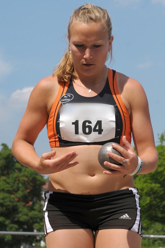 track & field athlete chick in candid spandex uniform