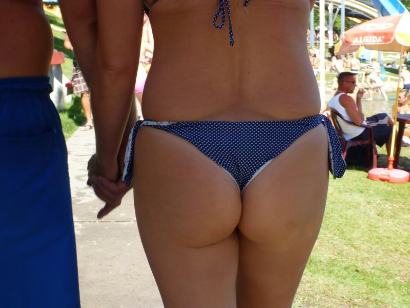 sweet milf booty in white polka dot bikini