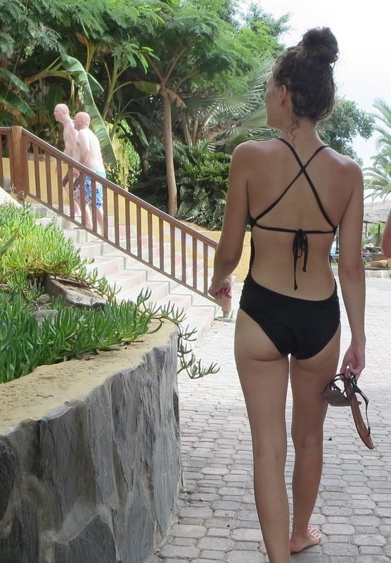 skinny waterpark girl in 1 piece swimsuit