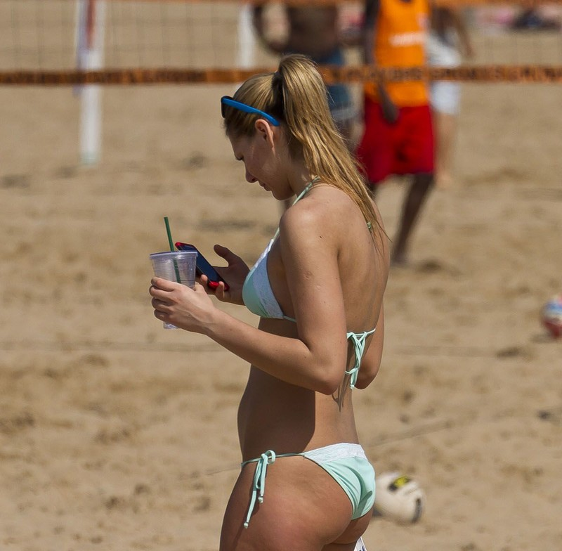 blond teen with a great cheeky bikini wedgie