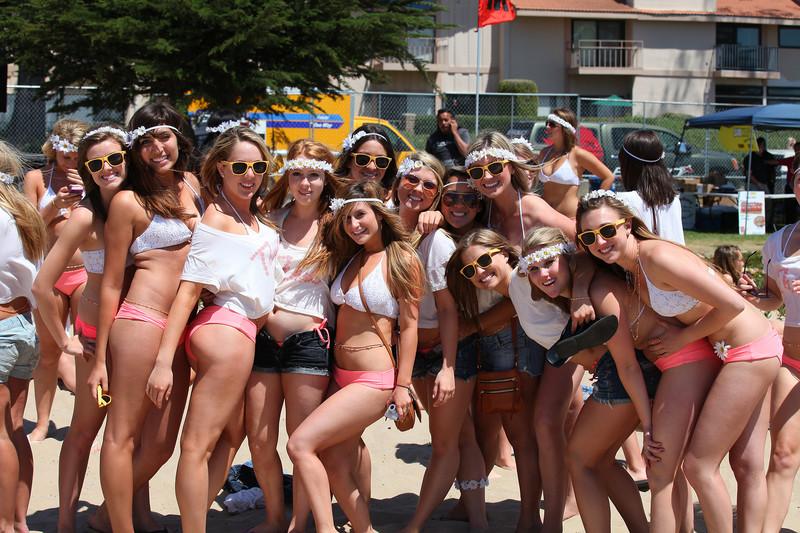 sorority volleyball girls in shorts & bikinis