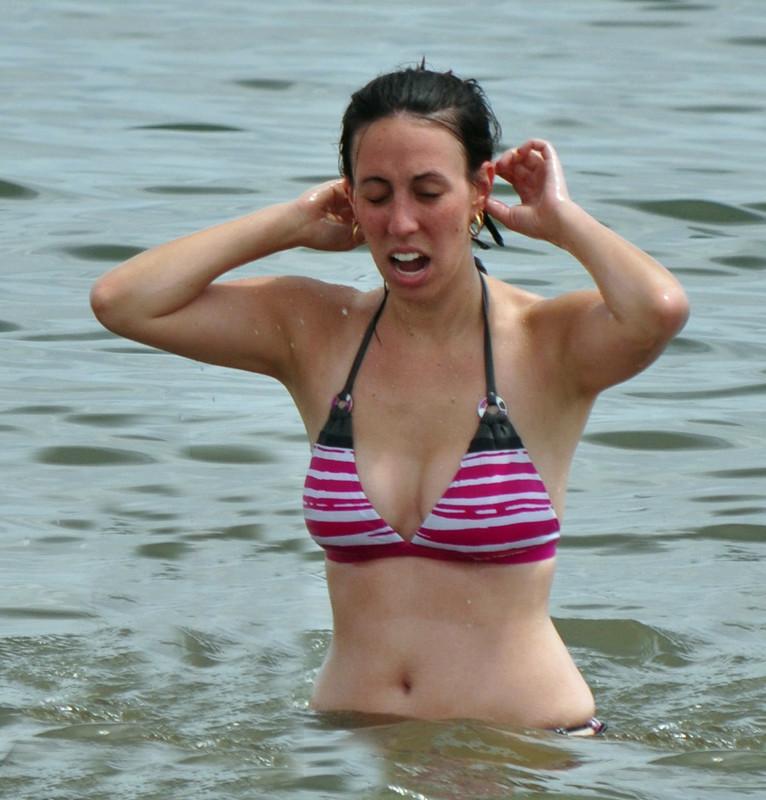 wet milf in lovely striped bikini
