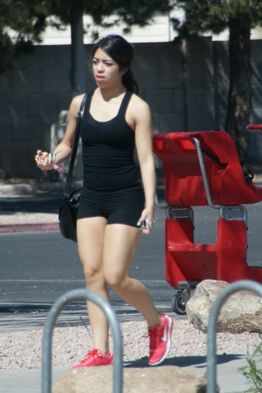 sexy workout babe in black lycra shorts