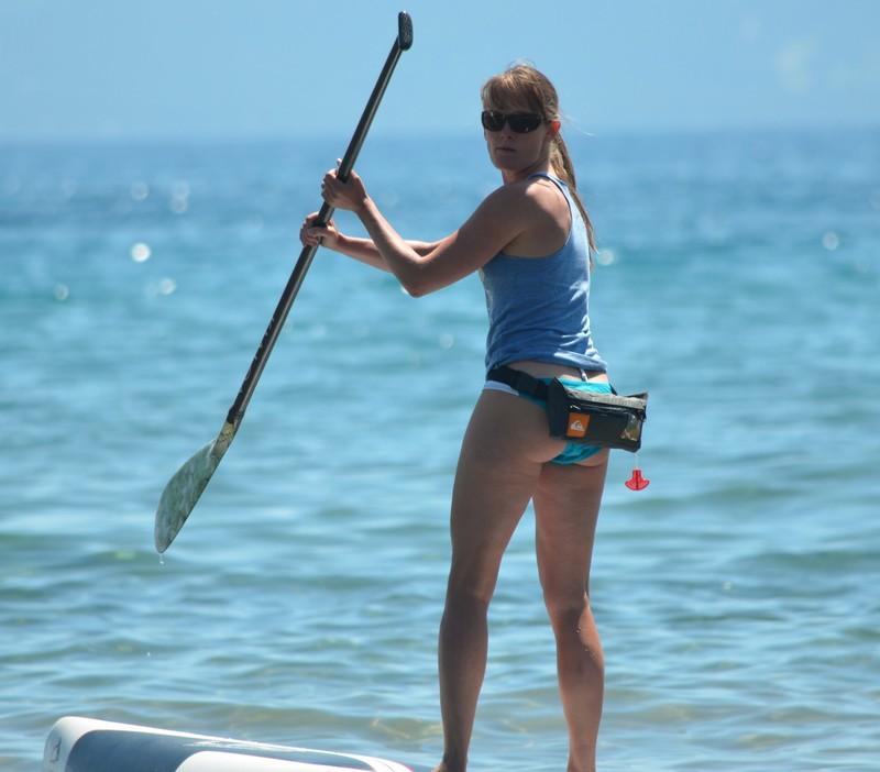 slim cheeky milf on paddle board