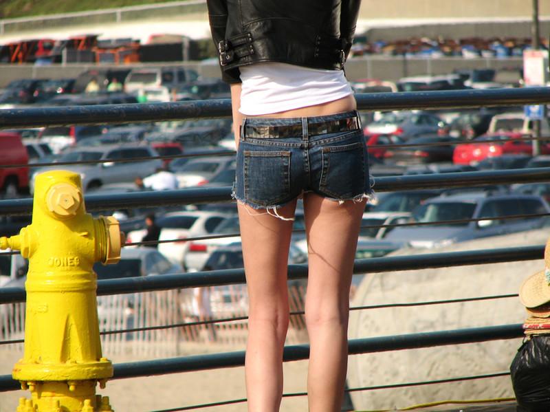 stylish babe in denim shorts