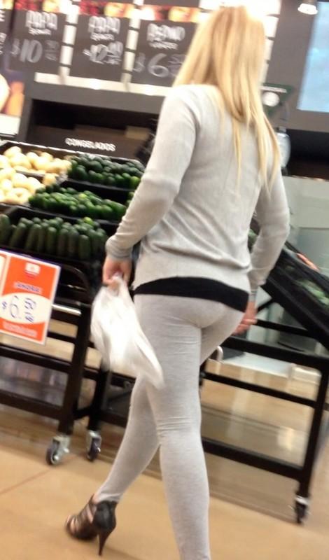 sexy blonde babe in tight grey leggings