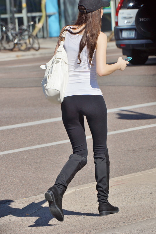 coed babe in black leggings & boots