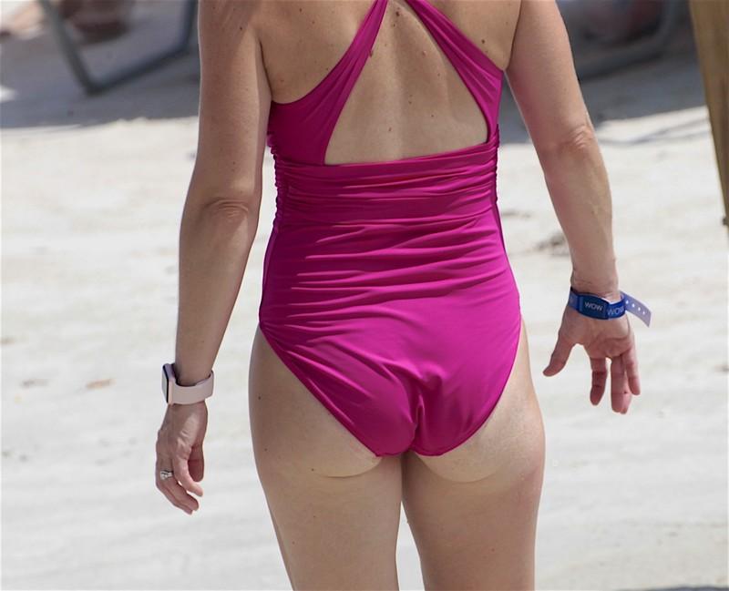 lovely milf in purple 1 piece swimsuit