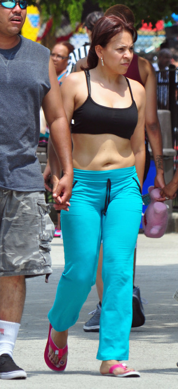 lovely wife in cyan yoga pants