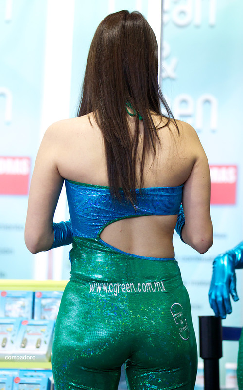 mexican promo girl in shiny outfit