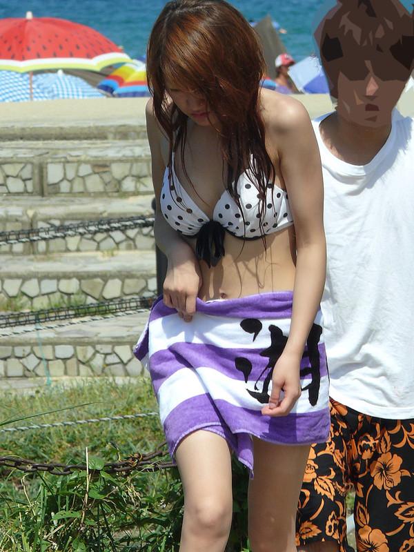 asian beach girls in mostly white bikini