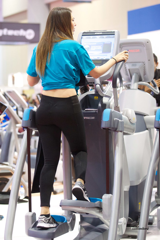 fitness event lady in candid black leggings