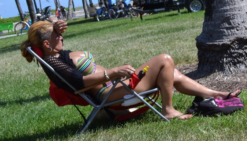 busty milf tanning in the beach park