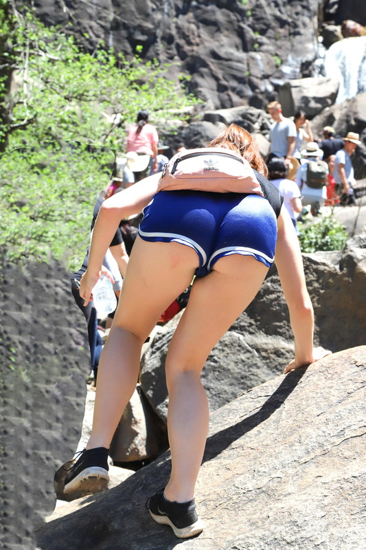 rock climber babe in very revealing blue gym shorts
