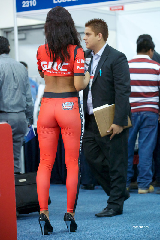 mexican promo girl in tight red outfit