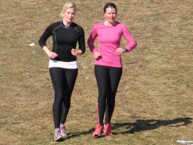 2 milfs jogging in candid black leggings