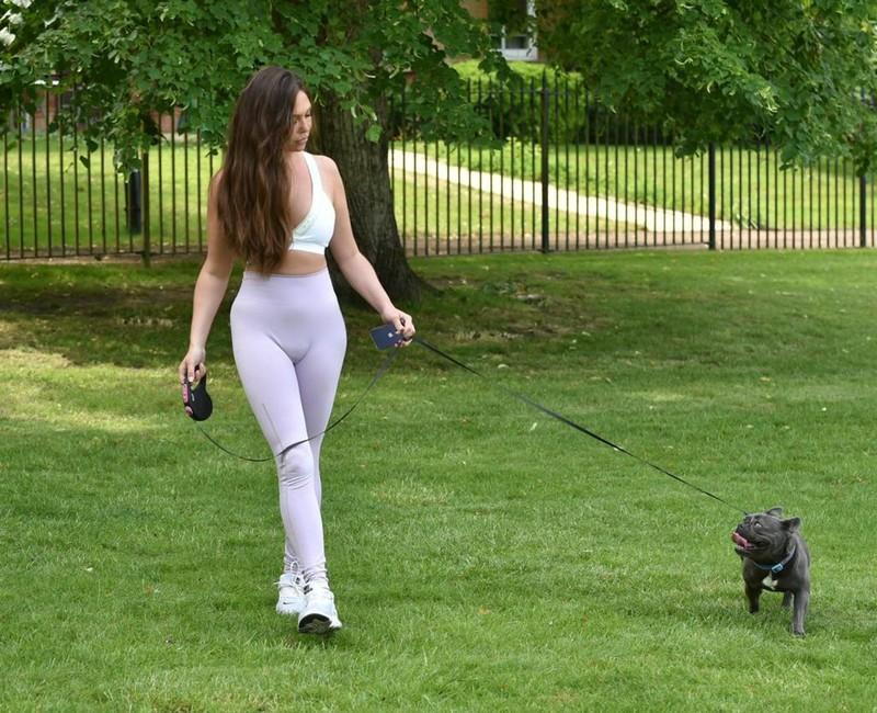 dog walker lady Fran Parman in candid yoga pants