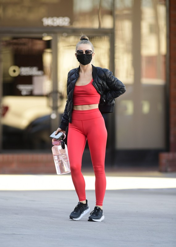 hot babe Julianne Hough in red fitness uniform