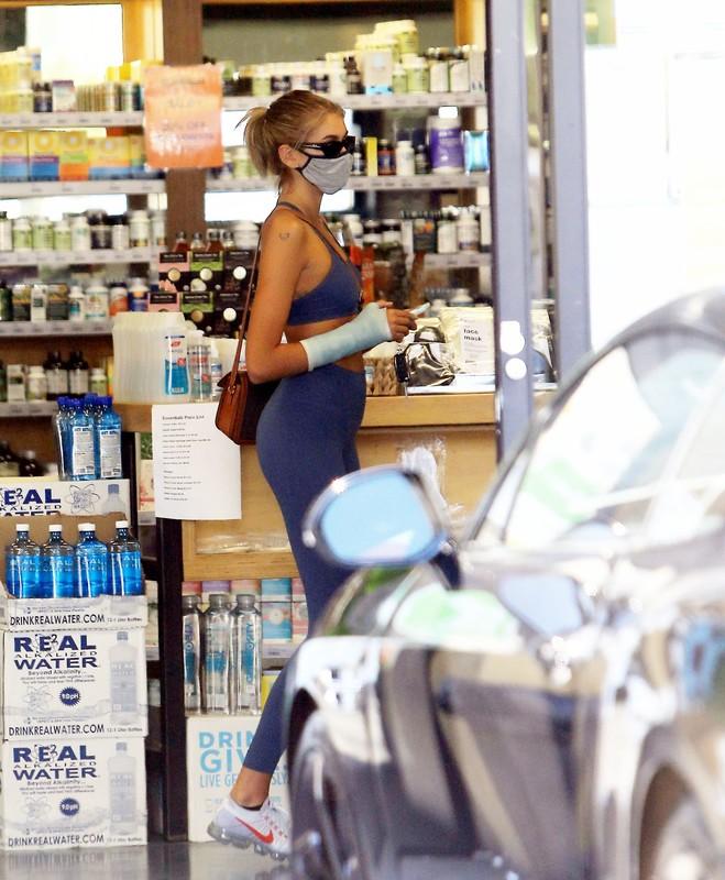 gorgeous babe Kaia Gerber in blue candid sportswear