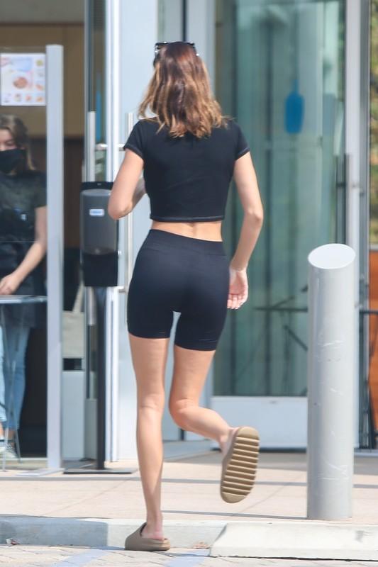 lovely babe Kendall Jenner in black gym shorts