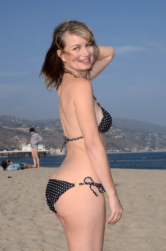 charming milf Rena Riffel in polka dot bikini